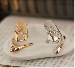 Wholesale Dragonfly Nail Designs - New Exquisite Cute Retro Queen Dragonfly Design Rhinestone Plum Snake Gold Silver Ring Finger Nail Rings shipping free