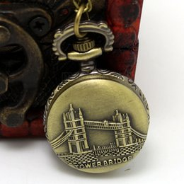 Wholesale London Sweater - Wholesale-Fashion London Tower Bridge Design Small Fob Pocket Watch With Sweater Necklace Chain Free Drop Shipping Gift