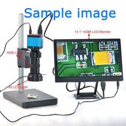 Wholesale Stage Light Videos - 14MP HDMI Microscope Camera For Industry Lab PCB USB Output TF Card Video Recorder + C-mount Lens + 144LED Light + Stand