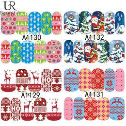 Wholesale Light Pink Nails Cute - Wholesale- 1Sheet Cute Christmas Nail Art Water Transfer Stickers Decals Pattern Full Wraps Nail Art Tips Beauty Tools A1129-1132