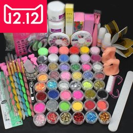 Wholesale Pro Acrylic Powder Nail Kit - Wholesale- EM-126FREE SHIPPINGHigh quality Pro Acrylic Liquid Nail Art Brush Glue Glitter Powder Buffer Tool Set Kit Tips
