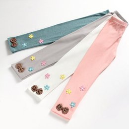 Wholesale Gray Girls Tights - Wholesale Baby Girls Cotton flower Leggings Pants tight Toddlers Children Baby Kids Leggings With bowknot kids trousers