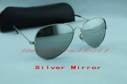 Wholesale Sunglasses Large Lens - High quality Classic Pilot Sunglasses Designer Large Metal Sun Glasses For Men Women Silver Mirror 58mm 62mm Glass Lenses UV Protection