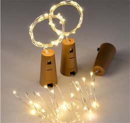Wholesale Blue Glass Bottles Stopper - 2M 20 LED Lamp Cork Shaped Bottle Stopper Light 9 Color Glass Wine LED Copper Wire String Lights For Xmas Party Wedding Halloween