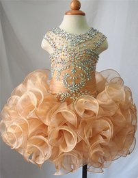 Wholesale Cupcake Style Pageant Dresses Girls - New Style Champagne Organza Flower Girl Girls Glitz Pageant Dresses Infant Toddler Dresses Communion Dress Cupcake Gowns
