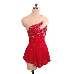 eiskunstlaufkleider Rabatt Konkurrenzfähiger Preis Mädchen Skating Wettbewerb Kleid On Ice Red Fashion Adult Perlen Kleid Neue Marke Großhandel