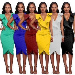 Wholesale Buttocks Size - 100pcs Plus Size Limited Coyote Valley Free Shipping 2017 Sexy Sleeveless V-neck Falbala Package Buttocks Dress Wholesale AP69
