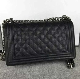 Chaîne grand sac à vendre-Fab Price Large 30CM Classic Style LeBoy Genuine Black Caviar Leather Plaid Flaps Sacs à épaule Vintage Gold / Silver Hardware