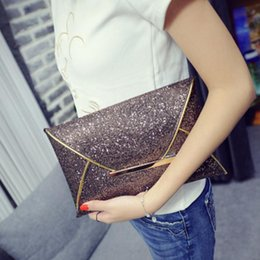 Wholesale Gold Envelopes - 2017 Super Fashion Women Glitter Sequin Evening Party Bag Ladies Tote Messenger Bag Envelope Handbag 3 Colors for Choice