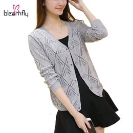 Wholesale Cheap Clothing Buttons - Wholesale-2016 Spring Autumn Cardigan Korean Style Wholesale Basic Tops Short Cape Poncho Women Hollow Out Sweater Female Cheap Clothing
