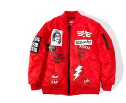 Wholesale Women S Pilot Jackets - Winter men hip hop street Graffiti rock and roll baseball Coats MA1 pilot flight jackets Bomber men and women couple pablo jacket Outerwear