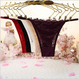 Wholesale Mini G String Tanga - NEW Hot Sexy Women Lace Strings Low Waist Mini Micro Bikini G Strings Thongs Tanga T-back Panties Underwear Erotic Lingerie
