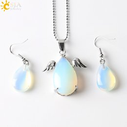 Wholesale Crystal Tear Drop Necklace - CSJA Angel Wing Water Tear Drop Pendant Charms Statement Necklace Copper Hook Earrings Christmas Birthday Easter Jewelry Set Girls Gift E391