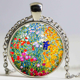 Wholesale Garden Engagement - Gustav Klimt's Farm Garden art pendant. Farm Garden Art Necklace Art jewelry Christmas Gift Party,Wedding Engagement Anniversary