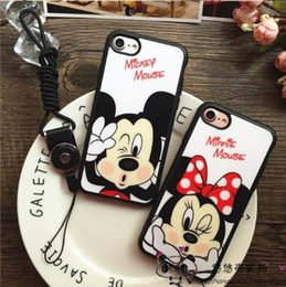 Wholesale Cute Girls Mobile Cases - Luxury Soft Silicone Case Cute Minnie Mickey Cover phone shell cartoon for mobile phone strap best gift for girls