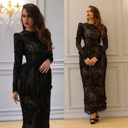 Wholesale Arab T Shirt - Black Arab Lace Dresses Evening Wear With Long Sleeves 3D Appliqued Jewel Neck Evening Gowns Column Ankle Length Formal Dress