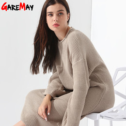 Wholesale Loose Midi Dress Sleeves - Long Sweater Dress Women Pullover Loose Knitted Long Sleeve Vestidos Longo Robe Femme Elegant Khaki Autumn Winter Dress GAREMAY