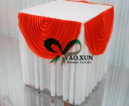 Yuvarlak veya Sqaure Beyaz Ve Kırmızı Renk Buz Ipek Masa Örtüsü 'Düğün Pastası Masa Örtüsü nereden yuvarlak düğün masa örtüleri tedarikçiler