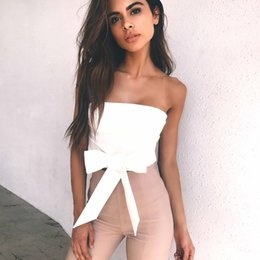 Wholesale Women Sexy Wrapping Bow - 2017 Summer Bind Sexy Tops Bow Pure Color Back Zipper Up Wrapped Chest Off Shoulder Women's Tanks Camis