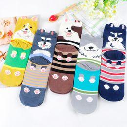 Wholesale Long Female Socks - Wholesale-Dogs And Cats Cute Cartoon Women In Tube Socks Stereo Ear Japanese Harajuku Female Long Sock Kawaii Ladies Cotton Sox 5Colors