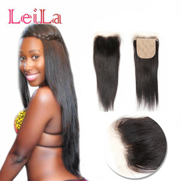 Wholesale silk top lace closure indian - Indian Silk Base Virgin Human Hair Straight Hair 4X4 Lace Closure Bleached knots Natural Color Top Closures From Leilabeautyhair