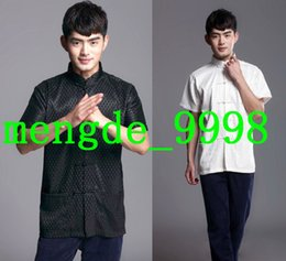Wholesale Traditional White Costume - Men Tang Suit Traditional Chinese Clothing Men's Tang Suit Costumes Black and White Short Sleeves Shirt Suit Men Kungfu Shirt Costumes T0740