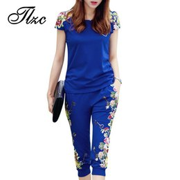 Wholesale Tracksuits China - TLZC Fashion Flowers Printed Women Tracksuit Casual T-shirts + Pants Lady Clothing Suit Size L-4XL China Style Summer Lady Sets