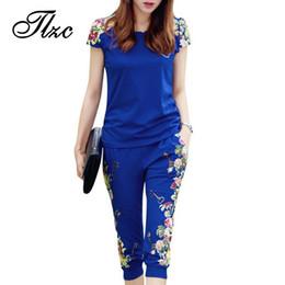 Wholesale China Lady Fashion Suit - TLZC Fashion Flowers Printed Women Tracksuit Casual T-shirts + Pants Lady Clothing Suit Size L-4XL China Style Summer Lady Sets