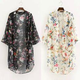Wholesale vintage cardigans women - Women New Floral printed Chiffon Shirts Casual Blouse Vintage kimono Cardigan Plus Size Long Shirt