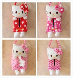 Wholesale Cloth Covered Storage Boxes - Wholesale- Hello Kitty Cat Red Pink Car Room Sofa Tissue Cover Storage Box Container Cloth Tissue Box Hanging Napkin Holder Paper Bag Case