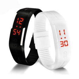 Wholesale Wrist Watch Digital Thin - Relojes Hombre 11 Colors Ultra Thin Men Girl Sports Rubber Digital LED Watch Sports Attractive Wrist Watch Kids Children Gift