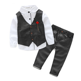Wholesale High Fashion Baby Boy Clothes - Fashion 2017 new winter The boy gentleman 3pcs set baby boy clothes long sleeve t-shirt +Vest+pants kids party suit high quality