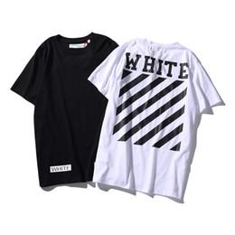 Wholesale Shirts Basic - Brand Clothing T Shirt Men Off White virgil abloh 2017 Summer Classic Letter Basic Stripe Print Cotton T-shirt Tee Men Tshirt