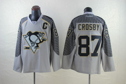 Wholesale Sports Full T Shirts - hot new jerseys Penguins 87# Sidney Crosby (C) black blue Charcoal Cross Gray Practice jersey jersey men's sport t-shirt hockey jersey.
