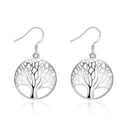 Wholesale Planting Wild Flowers - Tree of Life Earrings, Japan and South Korea Glossy Leaves Romantic Hollow Silver Earrings Wild Earrings Dating
