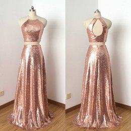 Wholesale Two Piece Prom Dress Cheap - Rose Gold Two Piece Sequin Prom Dresses 2018 Jewel Halter Keyhole Back Simple Long Party Dresses Cheap Evening Dresses