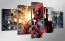 Wholesale Digital Movie Picture Frames - 5 Pcs Set Framed HD Printed marvel deadpool movie Painting Canvas Print room decor poster picture canvas decorative picture