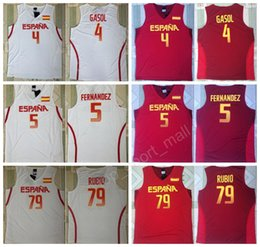 Wholesale Cheap Spain Basketball Jerseys Red White Color Fernandez Pau Gasol Ricky Rubio Jersey For Sport Fans All Stitching High Quality