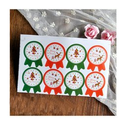 Wholesale Merry Christmas Boxes - Wholesale-80Pcs Merry Christmas Deer Green Tree sealing paste stickers DIY candy cake box packaging label Party Decoration