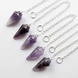 Wholesale Pendulum Wholesale - YZ104 5pcs Natural Amethyst pendulum Pendant Bead Random send