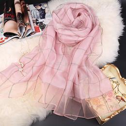 Wholesale Golden Shawl - 190cm*70cm ultra long size double layer silk cotton scarf golden check
