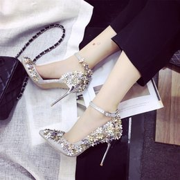 Wholesale Sequin Ladies High Heels - New Style Ladies High Heels Shoes Silver Sequins Pointed Toes Pumps Buckle Dress Shoes Party Wedding Dress Shoes