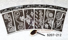 Wholesale Reuseable Stencils - Wholesale-6pcs lo Mehndi Indian Henna Tattoo Stencil reuseable Henna Tatoo Template Professional Tattoos Stencils For hand Painting bride