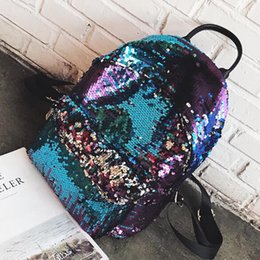 Wholesale Travel Bags Korea - Sequins Backpack Bags For Teenager Student Personality School Bags For Girls Korea Style Fashion Women Street Bags For Travelling
