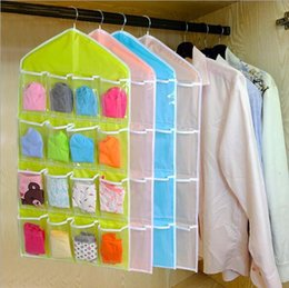 Wholesale Clothes Hangers Wholesale Free Shipping - Hot Sale 16Pockets Clear Hanging Bag Socks Bra Underwear Rack Hanger Storage Organizer High Quality Free Shipping,Dec