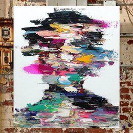Wholesale Oil Paintings Portraits Canvas - KGTECH Contemporary Artwork on Canvas Modern Abstract Portrait Painting Multi Colors Artwork Wall Decorations Handpainted 24x36Hinch