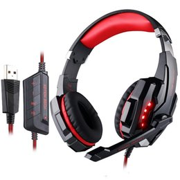 Wholesale Headphones Line Microphone - G9000 PRO Virtual 7.1 USB DAC Arches Gaming Headset with Surround Sound Bass Headphones with In-line Control & LED Lighting and Microphone f