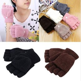 Wholesale Fingerless Knit Gloves - Winter Warm Men Women Gloves Cute Half Finger Turn Over Flip Knitted Mittens Hot Sale 6 Colors Gloves Without Fingers TO 92