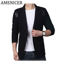 Wholesale New Stylish Clothes For Men - Wholesale- 2017 New Spring Mens Clothing Stylish Blazers For Men Leather Patchwork Plus Size Suits Slim Fitveste Homme Marque