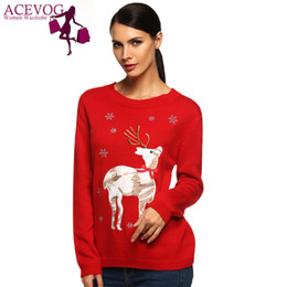 Wholesale red reindeer christmas sweater - Wholesale-ACEVOG Hottest Christmas Reindeer Santa Claus Sweater Fashion 2016 Long Sleeve Red Balck Women Girl Winter Pullover Sweater M-XL